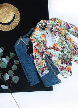 Шикарный приталенный пиджак  жакет фрак в цветы
