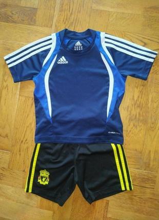 Adidas комплект костюм для спорта на футбол физкультуру спортивный шорты футболка