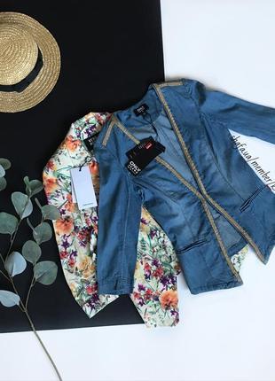 Красивый кардиган-пиджак-жакет джинсовый с декором