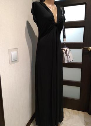 Шикарное черное трикотажное платье макси