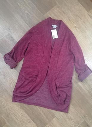 H&m стильный кардиган марсала, накидка, панчо, пиджак, жакет, ветровка