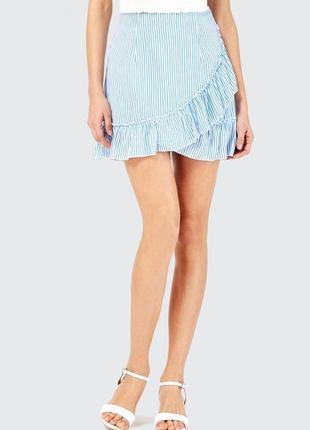 Новая натуральная юбка в полоску с воланами штапель размера s