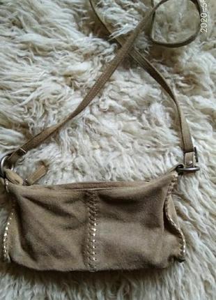 Бреедова сумочка кроссбоди натуральна замша
