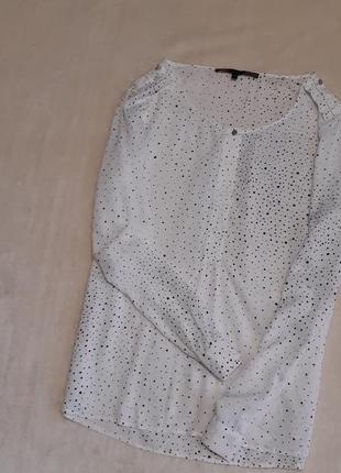 Лёгкая белая блузка вискоза в горошек длинный рукав размер 16 next