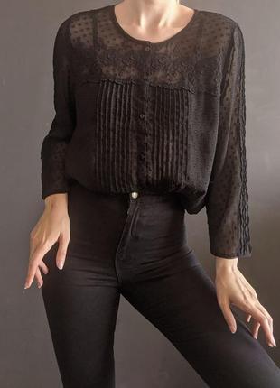 Винтажная бохо блуза с нежным кружевом tu