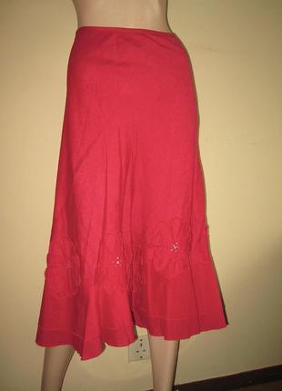 Marks&spencer роскошная юбка с аппликацией, лён+хлопок, р.14, наш 48-й