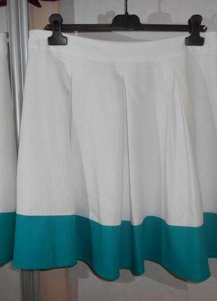 Peacocks роскошная белая юбка с бирюзовой вставкой, лен и вискоза, р.14-42, наш 48-50