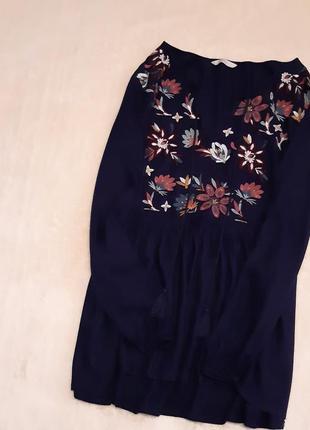 Тёмно синяя блузка с цветочной вышивкой большой размер 18 george