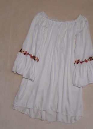 Лёгкая вискозная блузка с открытыми плечами размер 10-12 blue vanilla италия