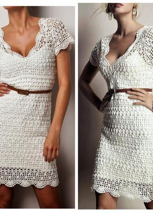 Платье вязаное ажурное трикотажное фабричное молочного цвета миди летнее 3 suisses
