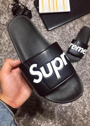 Мужские тапочки supreme черный цвет (40-45)