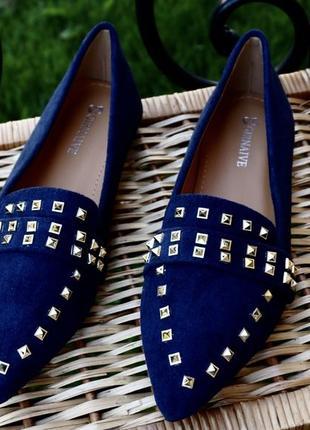 Стильные балетки туфли лоферы из эко замши