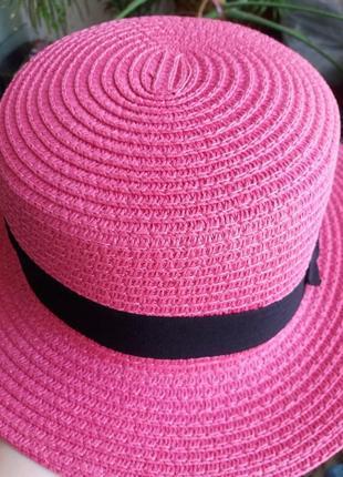 Соломенная шляпа канотье!!! хит лета! шляпка от солнца панамка белая бежевая красная2 фото
