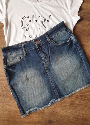 Джинсовая мини юбка размер с