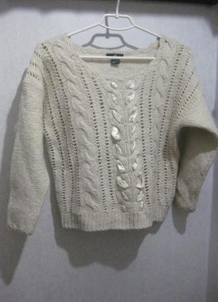 Толстый свитер джемпер h&m акрил шерстяной молочный белый вязаный с декором