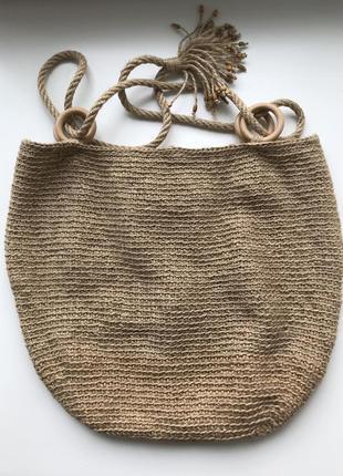 Летняя сумка шоппер ручной работы из джута hans made