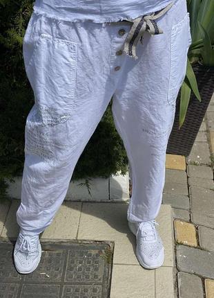 Бомбовые брюки италии лён оверсайз