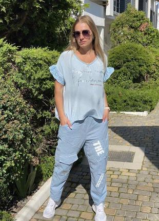 Бомбовые брюки лен италия оверсайз