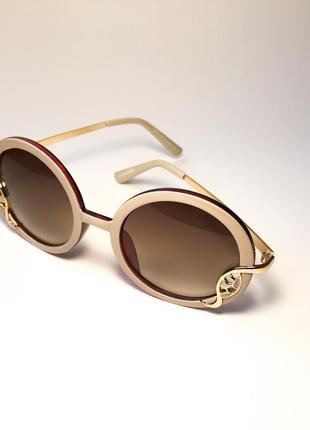 Женские очки круглые коричневые