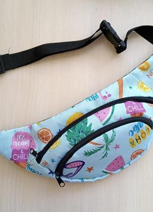 Летняя молодежная сумка бананка на  пояс барыжка