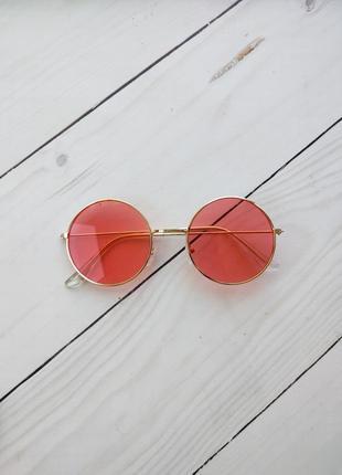 Красные  круглые очки