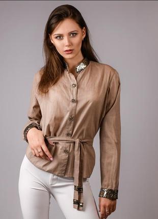 Рубашка из итальянского хлопка с пайетками на воротнике и манжетах