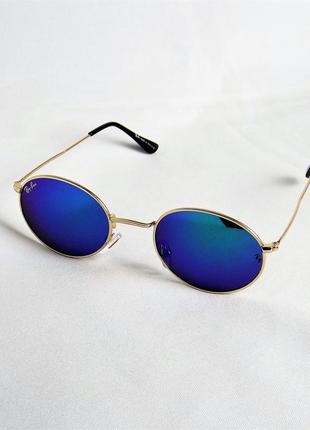 Очки солнцезащитные ray ban 3547 зеркальные с золотом овальные тишейды
