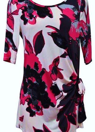 Ровное стречевое платье- туника с цветочным принтом m&s per una размер 22 uk наш 56