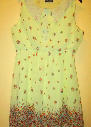 Распродажа красивое нежное платье select в цветочек кружевной воротничек размер 16