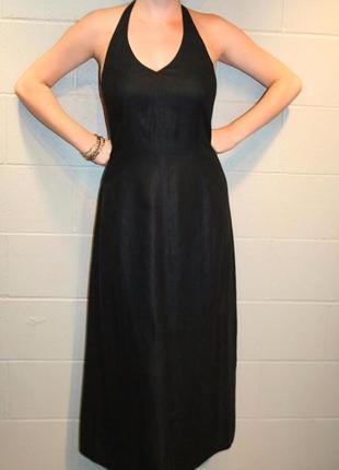 Длинное платье, сарафан с открытой спиной, юбка трапеция, 100% лен, laura ashley