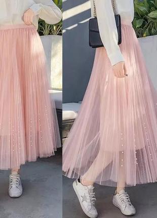Фатиновая юбка с жемчужинами