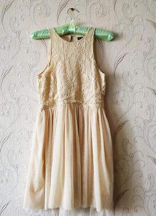 Платье нежного цвета беж р. xs - s