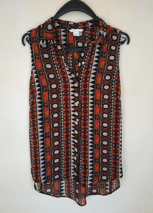 Блуза легкая без рукавов в орнамент