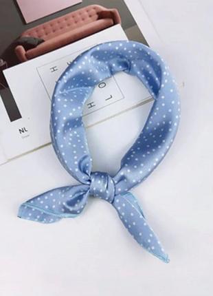 Платок платочек бант лента для волос на сумку косынка голубой в горох новый