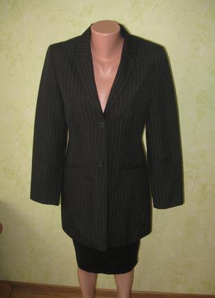 Стильный удлиненный пиджак-тренч в полоску