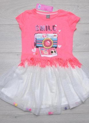 Летний костюм комплект футболка с пайетками и фатиновая юбка pepco