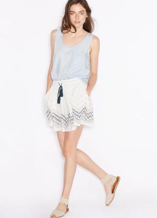 Легкая натуральная летняя юбка в интересный принт от mango.новая
