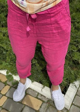 Бомбовые льняные брюки оверсайз италия