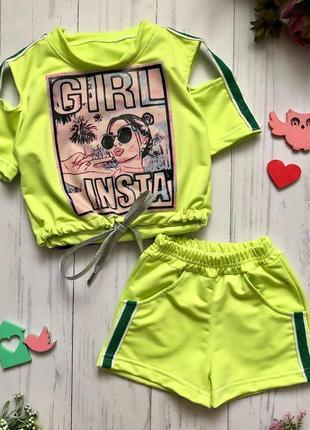 Летний комплект на девочку 98-128 рост шорти футболка