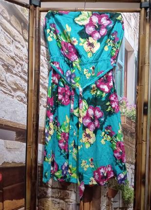 Платье-бандо без брителей с поясом в принт гибискусы h&m