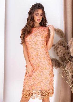 Платье в камнях сваровски персиковое