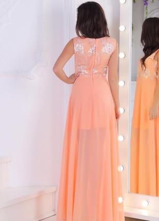 Платье длинное нежно-абрикосовое арт0302 фото