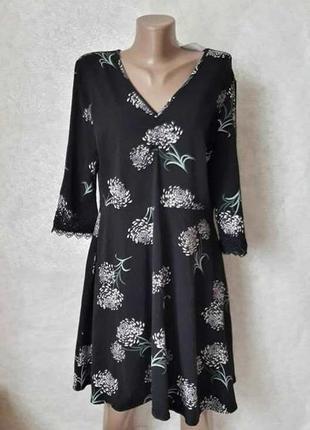 Фирменное dorothy perkins с биркой платье в пионах на 96 % хлопок, рукава 3/4, размер 2хл