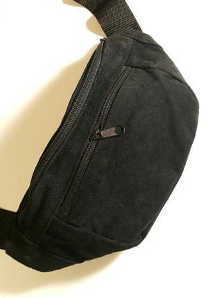 Объемная бананка из натуральной кожи замши кожаная сумка на пояс на плечо барсетка