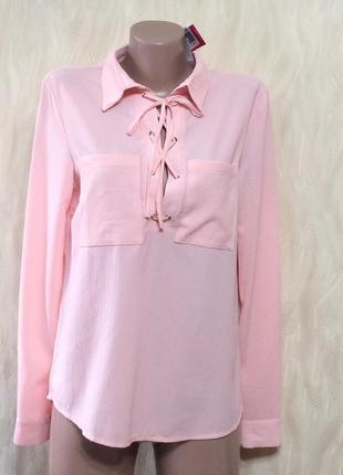 Розовая блуза со шнуровкой justfab,  р.12