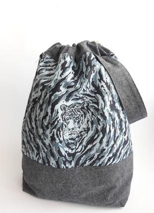 Сумка еко мешок для проектов вязания, проектная текстильная  сумка