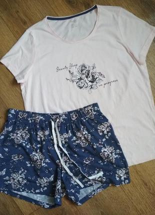 Летняя хлопковая пижама футболка и шорты esmara, р. l, евроразмер 44/46, см. замеры