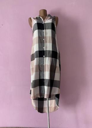 Стильная длинная блуза рубашка в клетку яркая модная