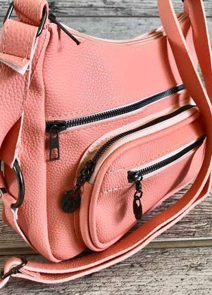 Женская сумка на плечо эко-кожа 🇹🇷 4 кармана  длинный ремешок 126см  27х22х10