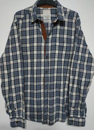 Xxl 54 esprit рубашка в клетку синяя мужская туристическая походная casual кежуал